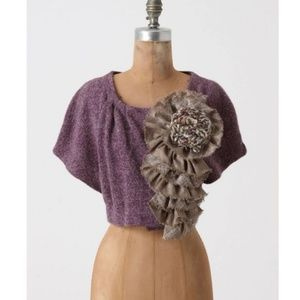 Anthro Moth Sweater S/M Adler Crop Shrug Purple